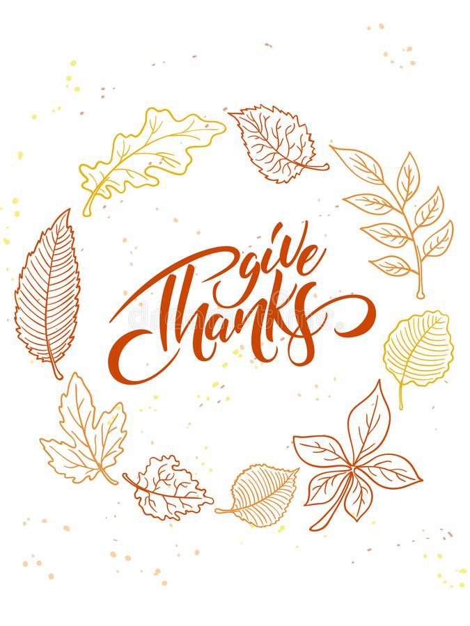 Vector thanksgiving greeting card with hand lettering label - happy thanksgiving day - and autumn doodle leaves stock illustration