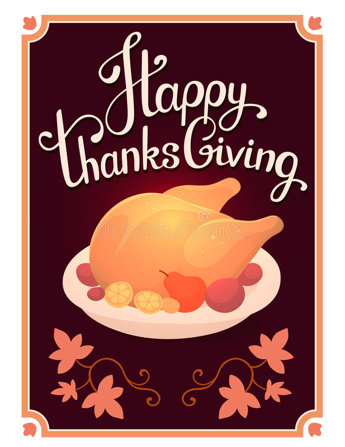 Vector thanksgiving illustration with golden roasted turkey and royalty free illustration