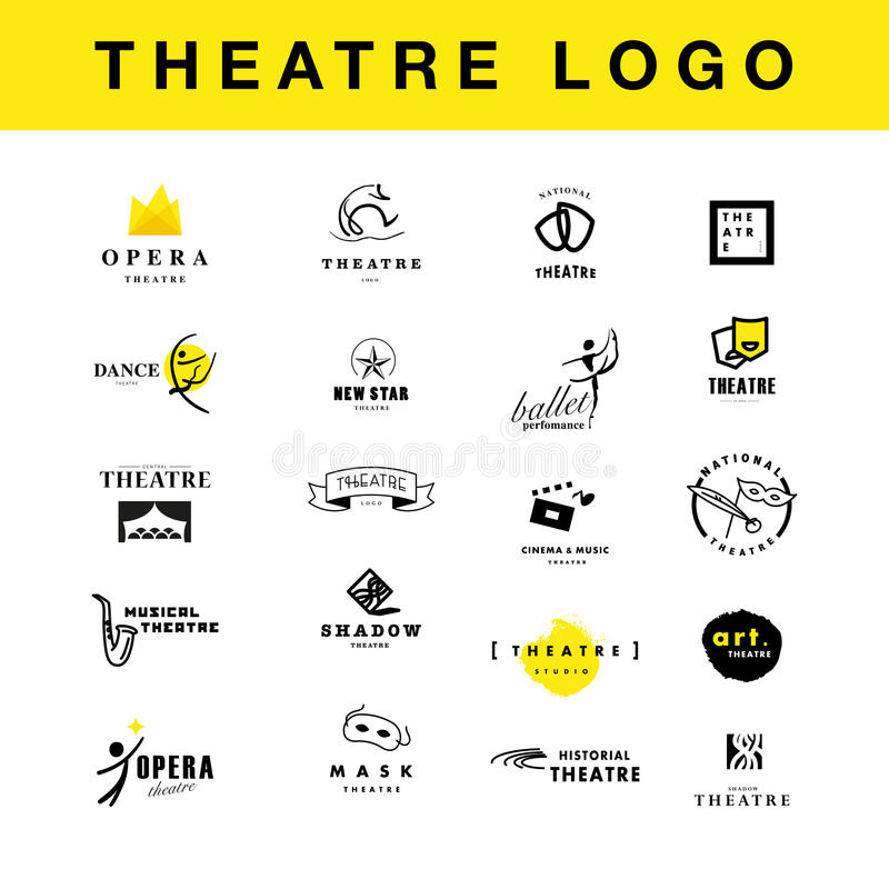 Vector theatre and ballet perfomance logo template design collection. vector illustration