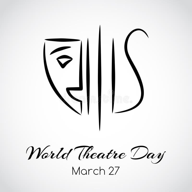 World theatre day greeting card. Vector emblem stock illustration