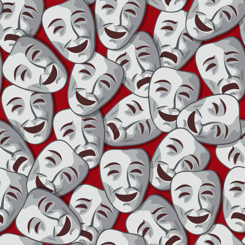Vector theatrical background. Vector seamless pattern with merry and sad theatrical masks stock illustration