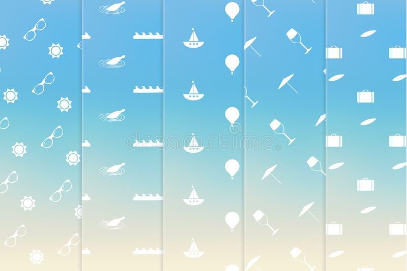 Vector thematisch naadloos textuurpak Het eenvoudige klopje van de de zomervakantie vector illustratie