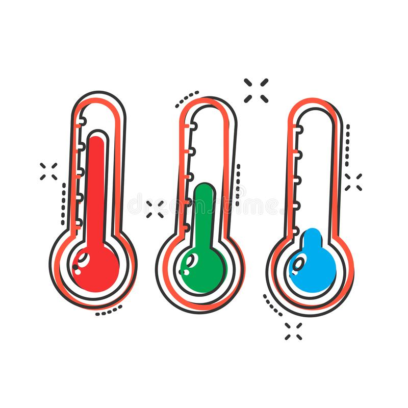 Vector thermometer icon in comic style. Goal sign illustration p. Ictogram. Thermometer business splash effect concept stock illustration