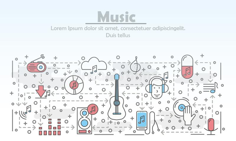 Vector thin line art music poster banner template royalty free illustration