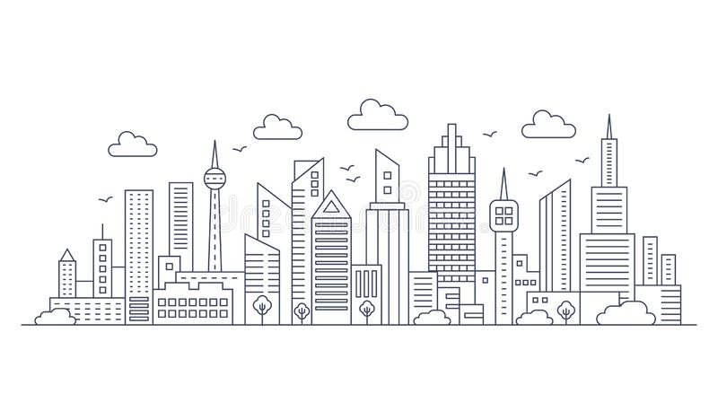 Vector thin line city panorama landscape. Modern architecture urban city with high skyscrapers. Vector thin line city panorama landscape. Modern architecture royalty free illustration
