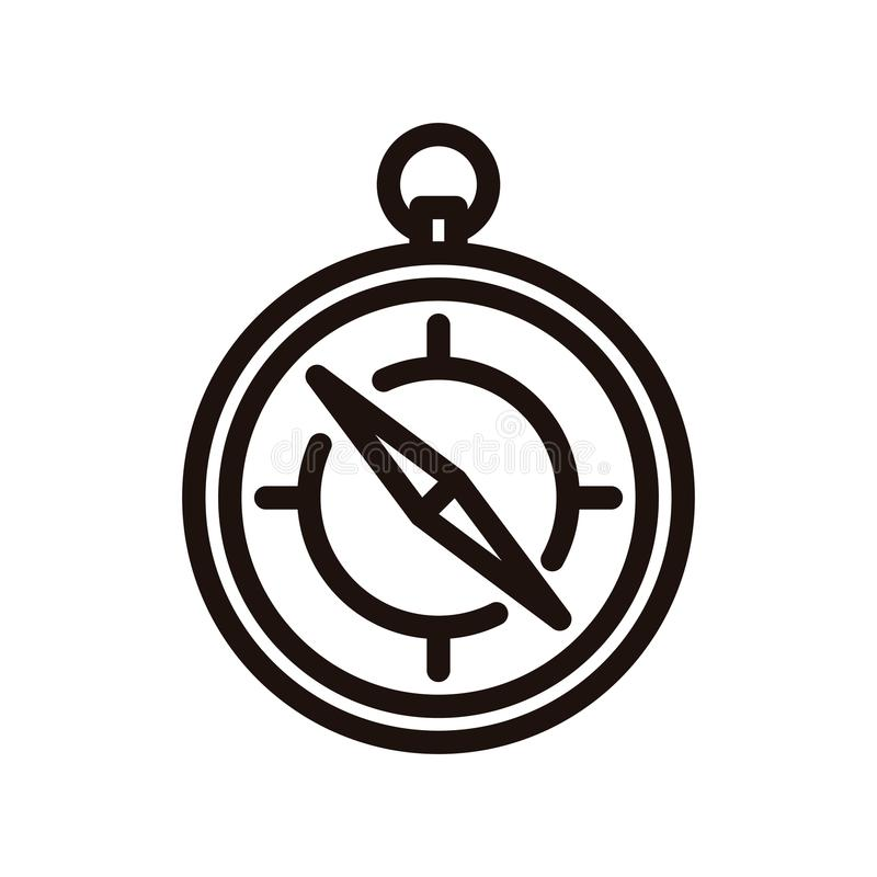 Vector thin line compass icon. Traveling and localization object vector illustration royalty free illustration