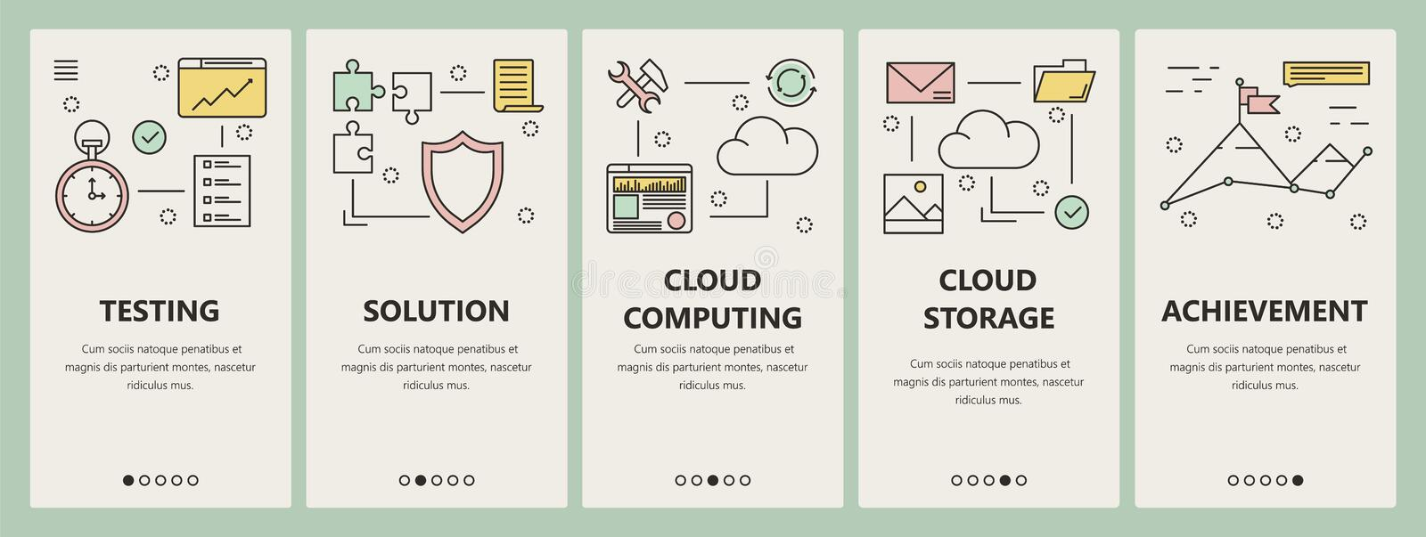 Vector thin line flat design cloud computing concept vertical banners stock illustration