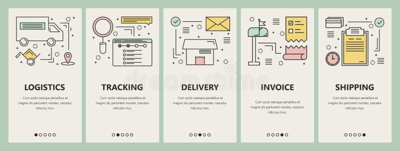 Vector thin line flat design e-commerce concept vertical banners vector illustration