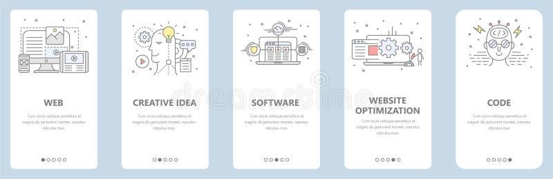 Vector thin line flat design, web development concept banners vector illustration