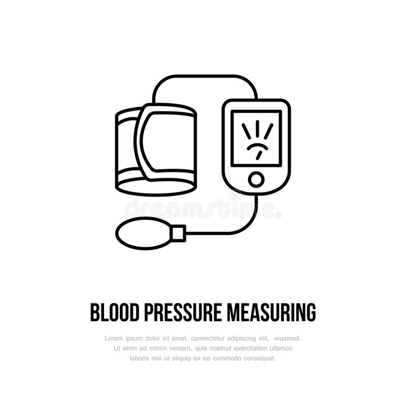 Vector thin line icon of blood pressure measurement. Hospital, clinic linear logo. Outline tonometer symbol, medical vector illustration