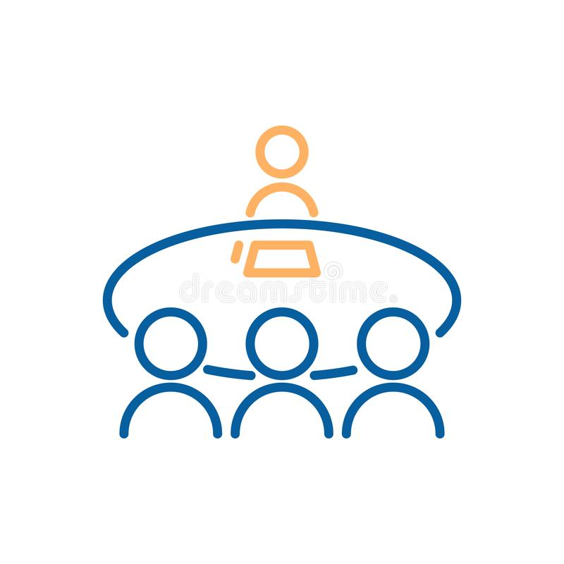 Vector thin line icon illustration with business people sitting on a table having a debate, meeting. Reunion royalty free illustration
