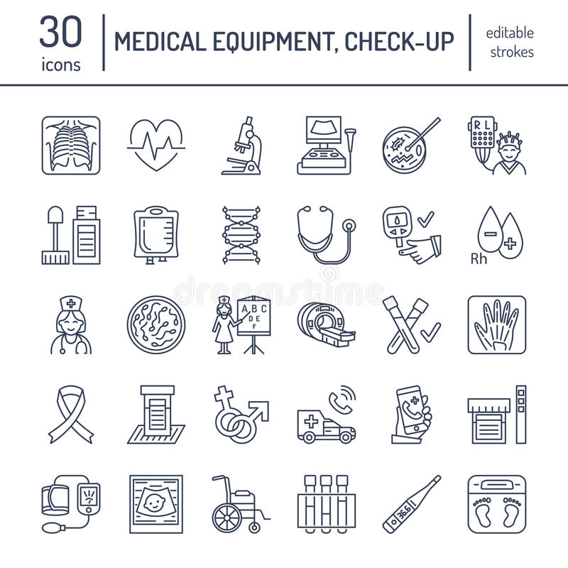 Vector thin line icon of medical equipment, research. Medical check-up, test elements - MRI, xray, glucometer, blood pressure, lab stock illustration