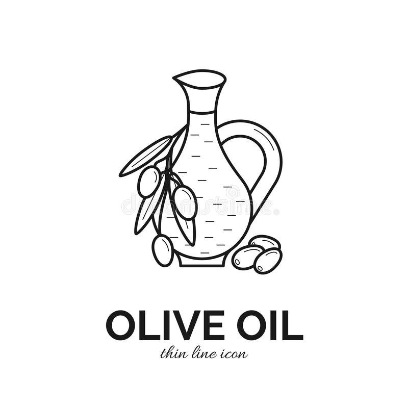 Vector thin line icon of olive oil bottle vector illustration