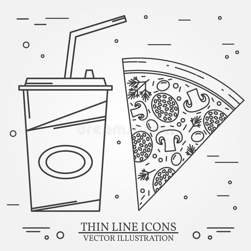 Vector thin line icon pizza, hot dog and burger . For web desig. N and application interface, also useful for infographics. Vector dark grey. Vector illustration vector illustration