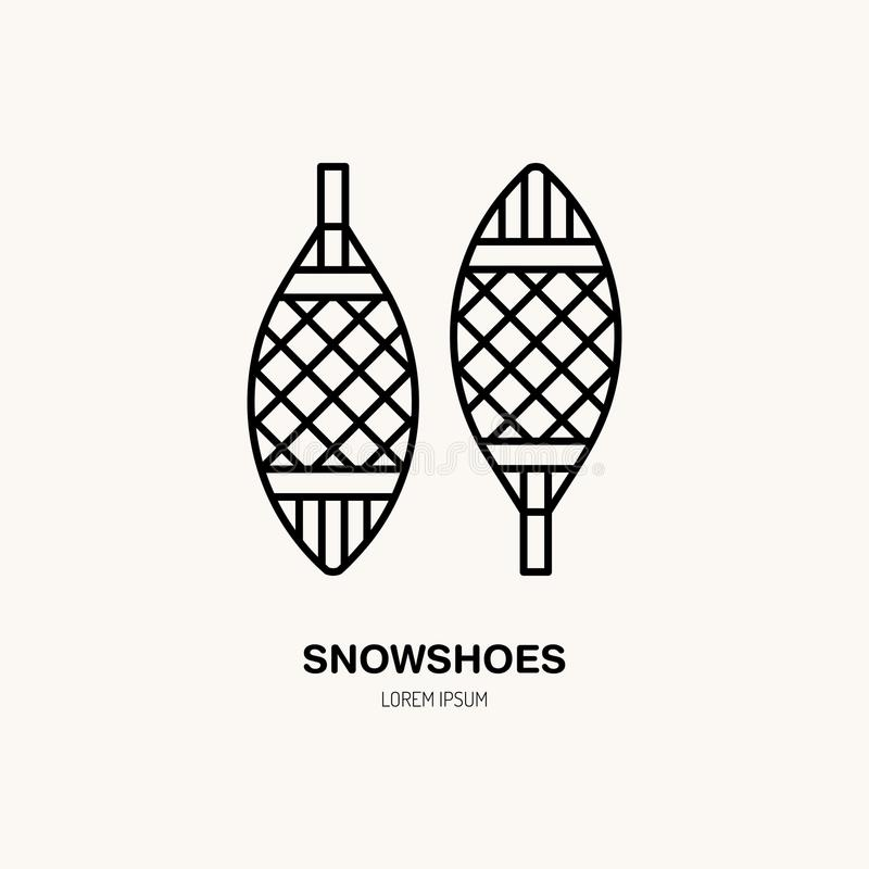 Vector thin line icon of snowshoes. Winter recreation equipment rent logo. Outline symbol of walking on snow. Cold. Season activities sign stock illustration