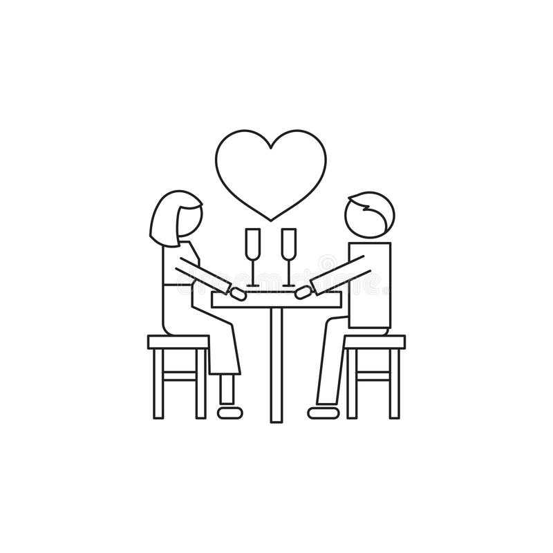 Romantic dating line icon. Vector thin line icon, two people in love, romantic dating. Metaphor of amorousness, affection and faithfulness. Man and woman at the royalty free illustration