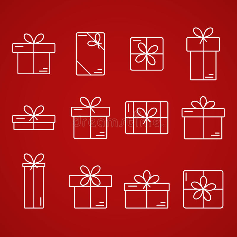 Vector thin line icons of gift boxes. stock illustration