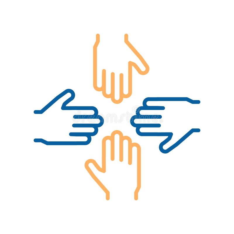 Vector thin line icons with 4 hands. Concept design for teamwork, success, charity, business, volunteers vector illustration