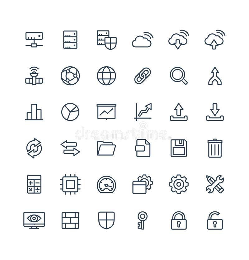 Vector thin line icons set with big data and analytics technology outline symbols stock illustration