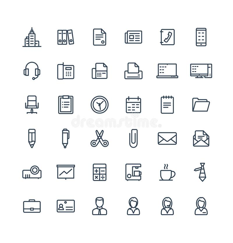 Vector thin line icons set with business and office tools outline symbols stock illustration