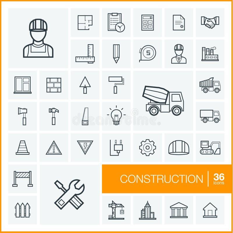 Vector thin line icons set. Construction vector illustration