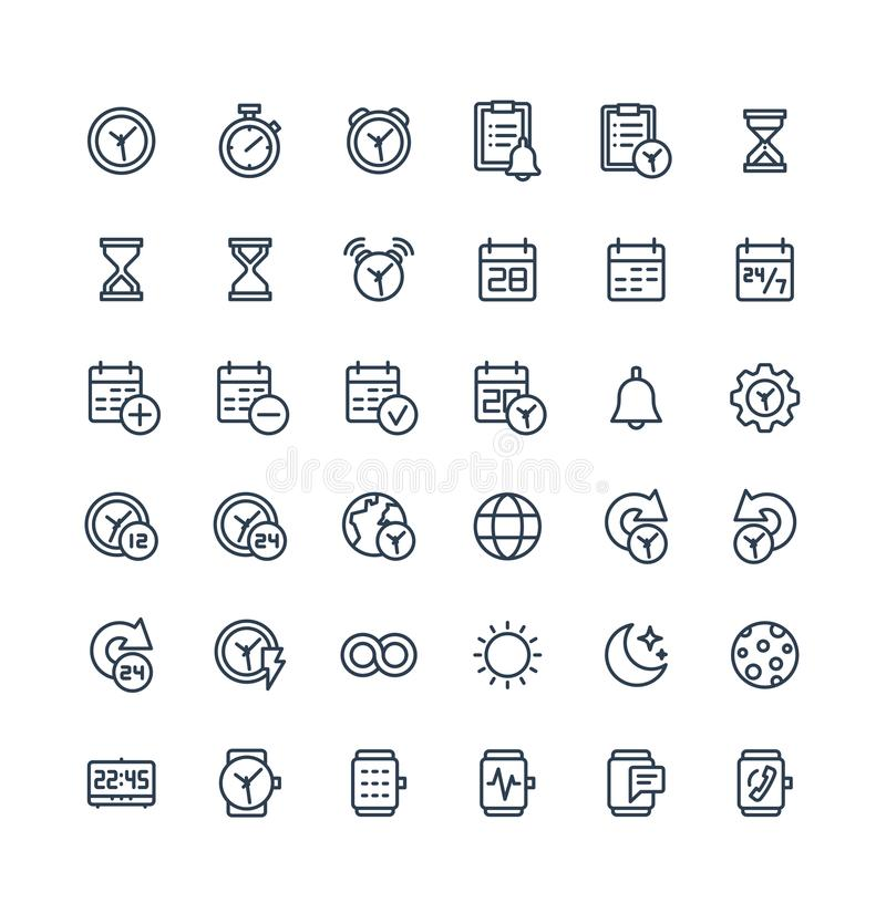 Vector thin line icons set with date and time outline symbols. stock illustration