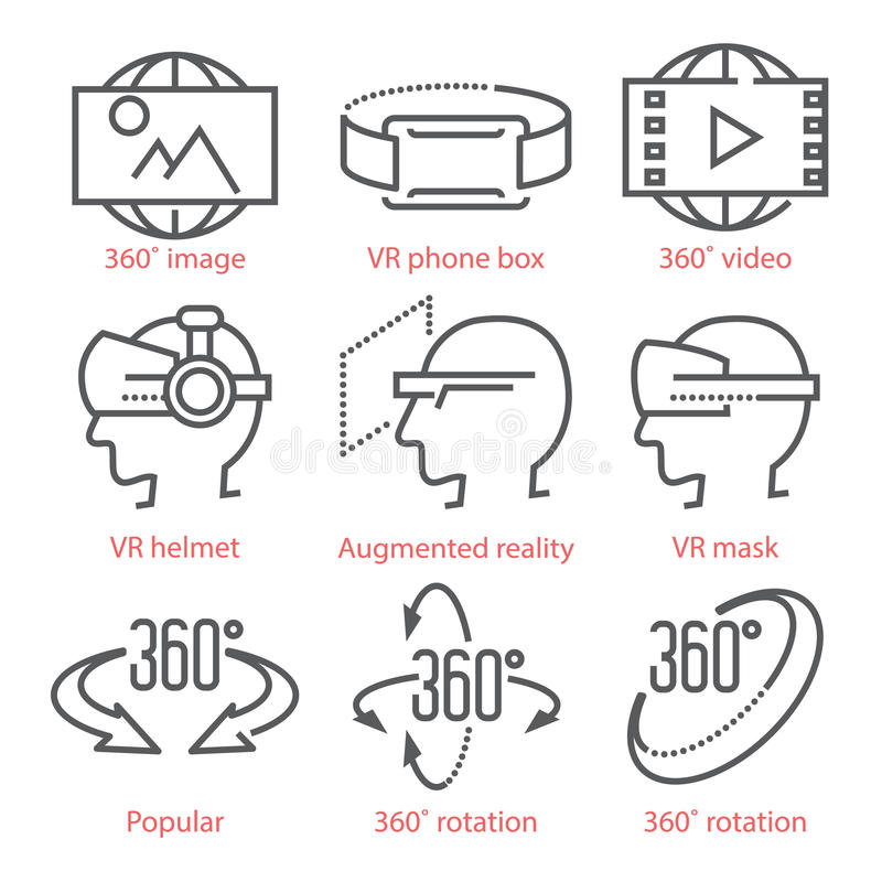Vector thin line icons set with 360 Degree View Icons, virtual reality equipment and accessories for infographics and UX royalty free illustration