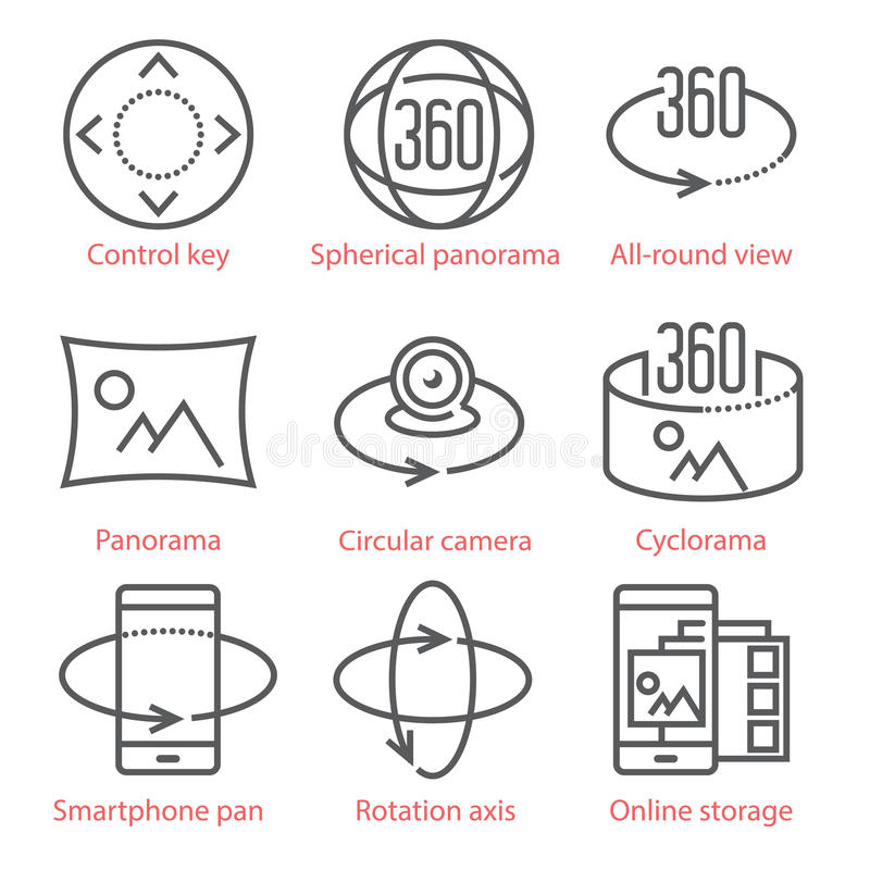 Vector thin line icons set with 360 Degree View and, Panorama tools and applications. vector illustration