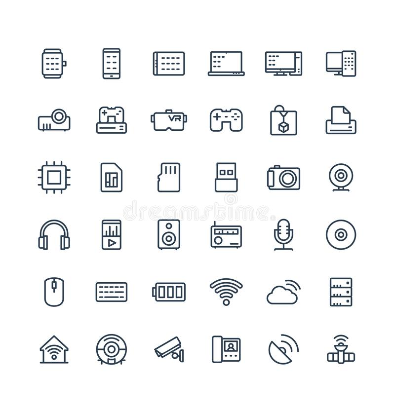 Vector thin line icons set with digital and wireless technology outline symbols. stock illustration