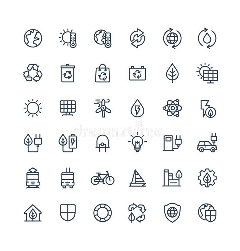 Vector thin line icons set with environmental and ecology outline symbols vector illustration