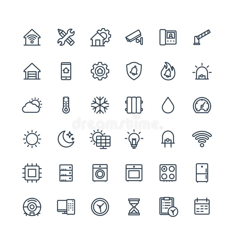 Vector thin line icons set with home, smart house outline symbols. Vector thin line icons set, graphic design elements. Illustration with home, smart house royalty free illustration