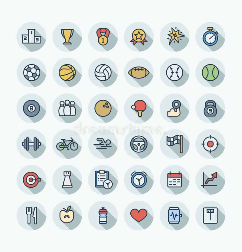 Vector flat color thin line icons set with sport and fitness outline symbols. stock illustration