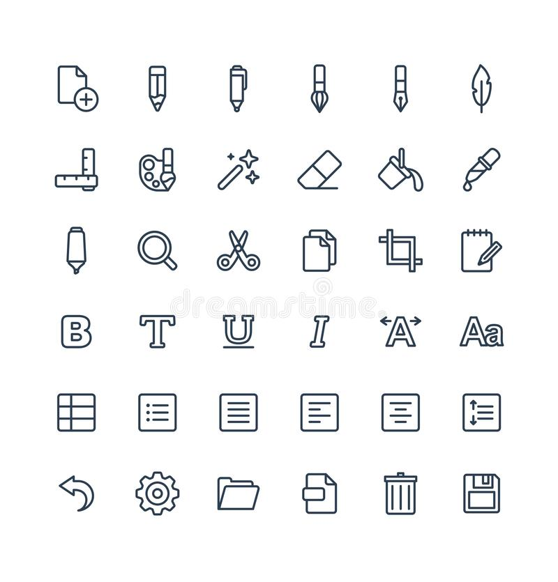 Vector thin line icons set and graphic design elements. Illustration with text edit, graphic tools outline symbols stock illustration