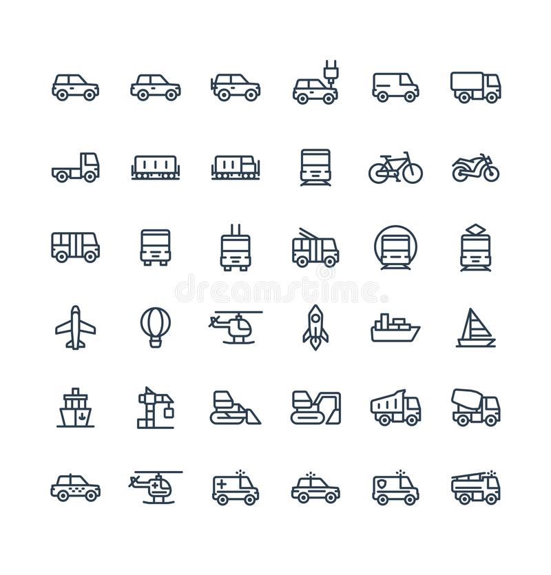 Vector thin line icons set with public transport, cars outline symbols. vector illustration