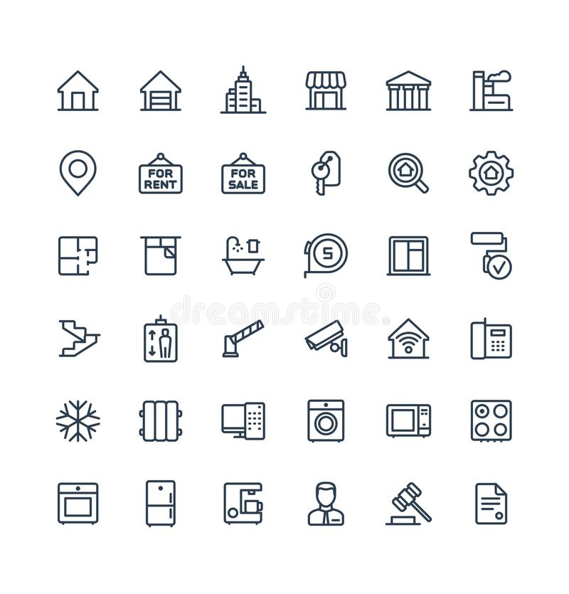 Vector thin line icons set with real estate outline symbols. royalty free illustration