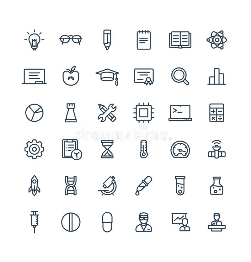 Vector thin line icons set with science and laboratory research outline symbols royalty free illustration