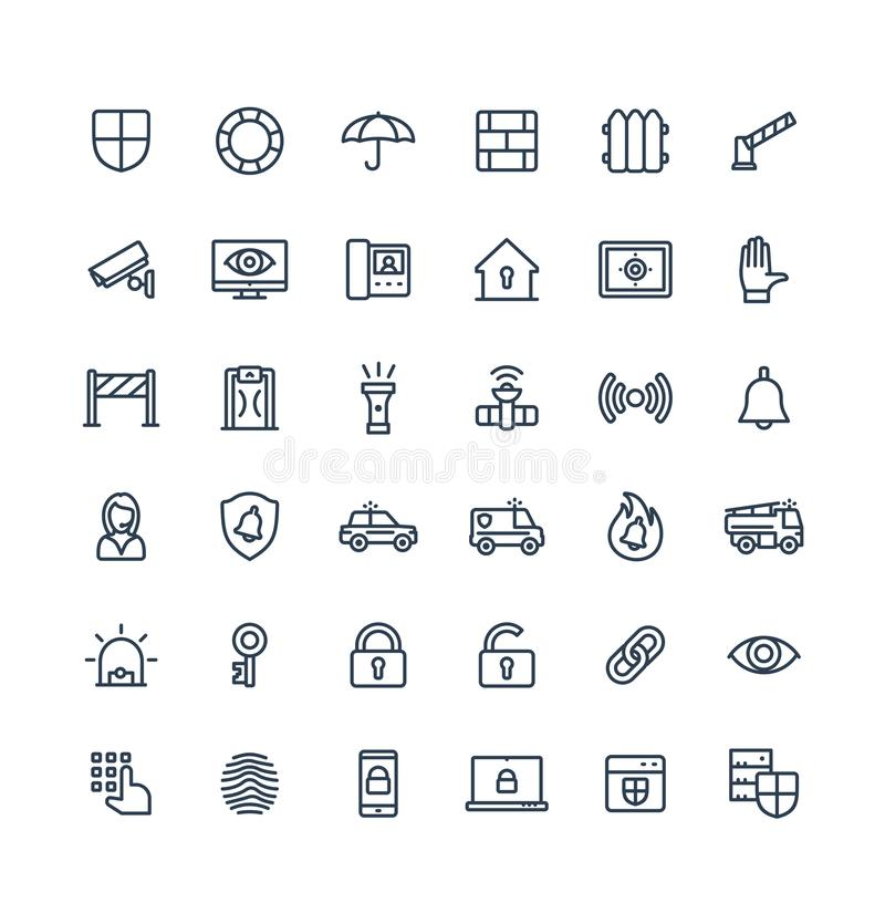 Vector thin line icons set with security, cyber safety outline symbols vector illustration
