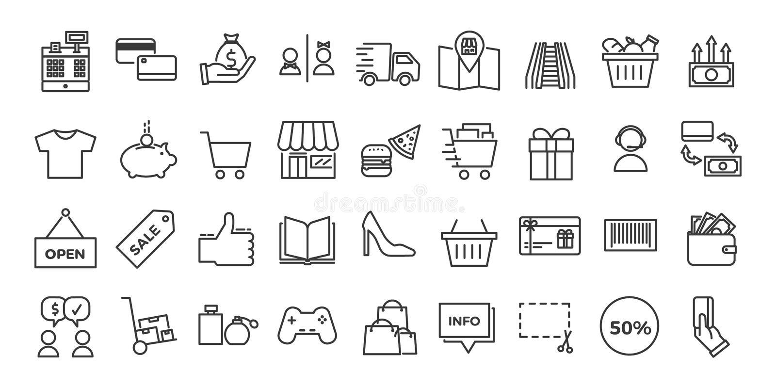 Icons related with commerce, shops, shopping malls, retail. royalty free illustration