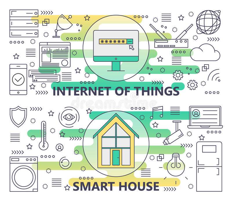 Vector Thin Line Internet Of Things And Smart House Banners Stock