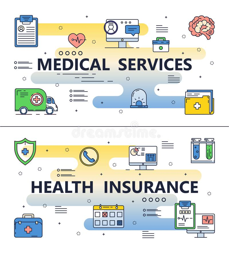 Vector thin line medical poster banner templates. Health insurance and medical services template set. Vector thin line art flat style design elements with royalty free illustration