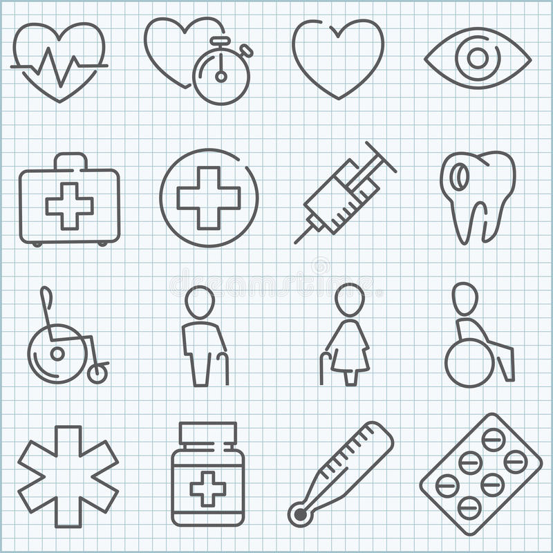 Free Vector Thin Line Medicine Icons Set Stock Photography - 47076112