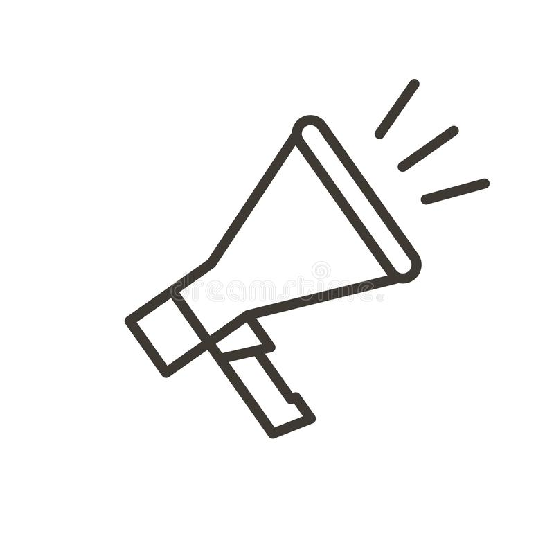 Vector thin line megaphone icon for news, advertising, communication, business, presentations, protests or sound subjects royalty free illustration