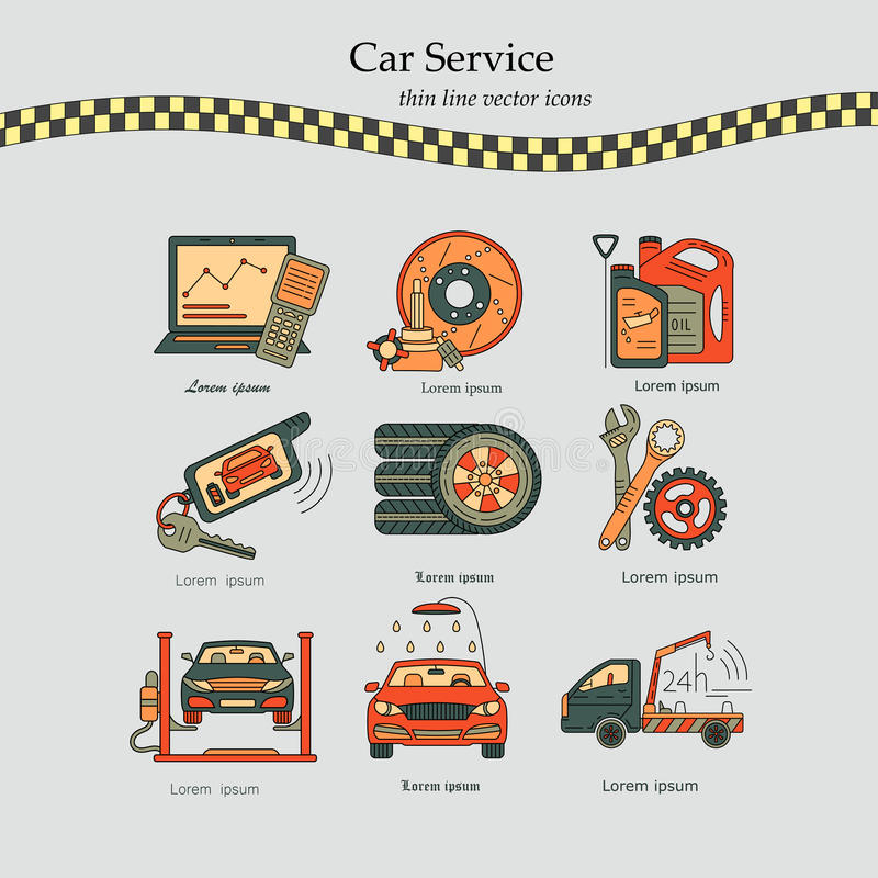 Vector Thin Line Pictogram Symbols Of Car Service Stock Vector