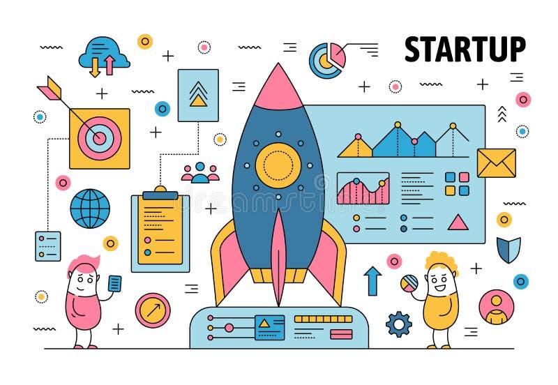 Vector thin line startup poster banner template stock illustration