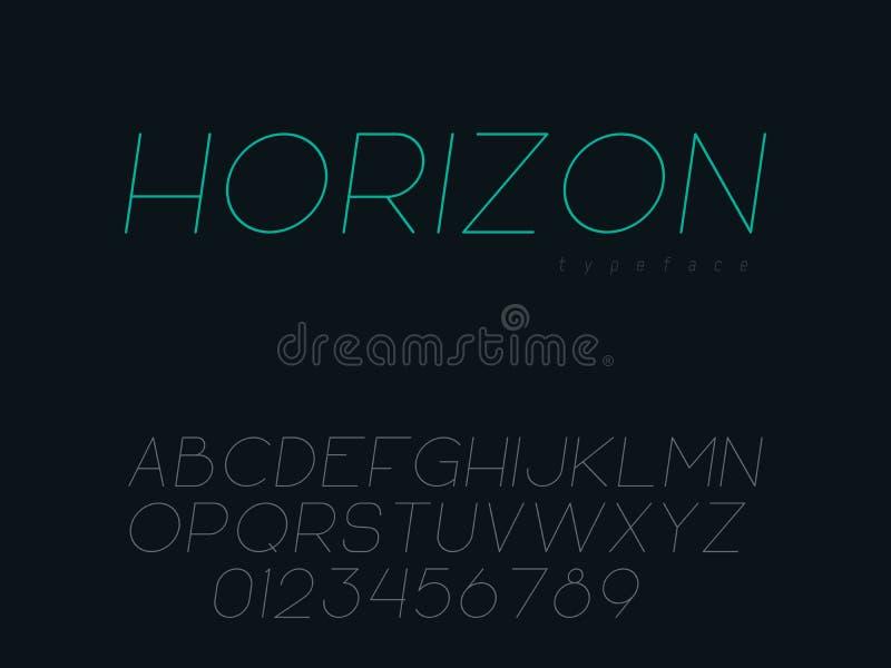 Vector thin line uppercase font. Latin alphabet letters and numbers. Thin line uppercase font. Latin alphabet letters and numbers. Vector illustration royalty free illustration