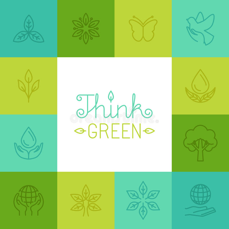 Vector think green concept in linear style vector illustration