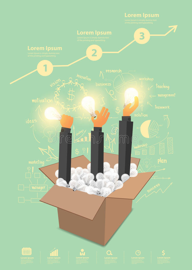 Vector think outside the box ideas concept royalty free illustration
