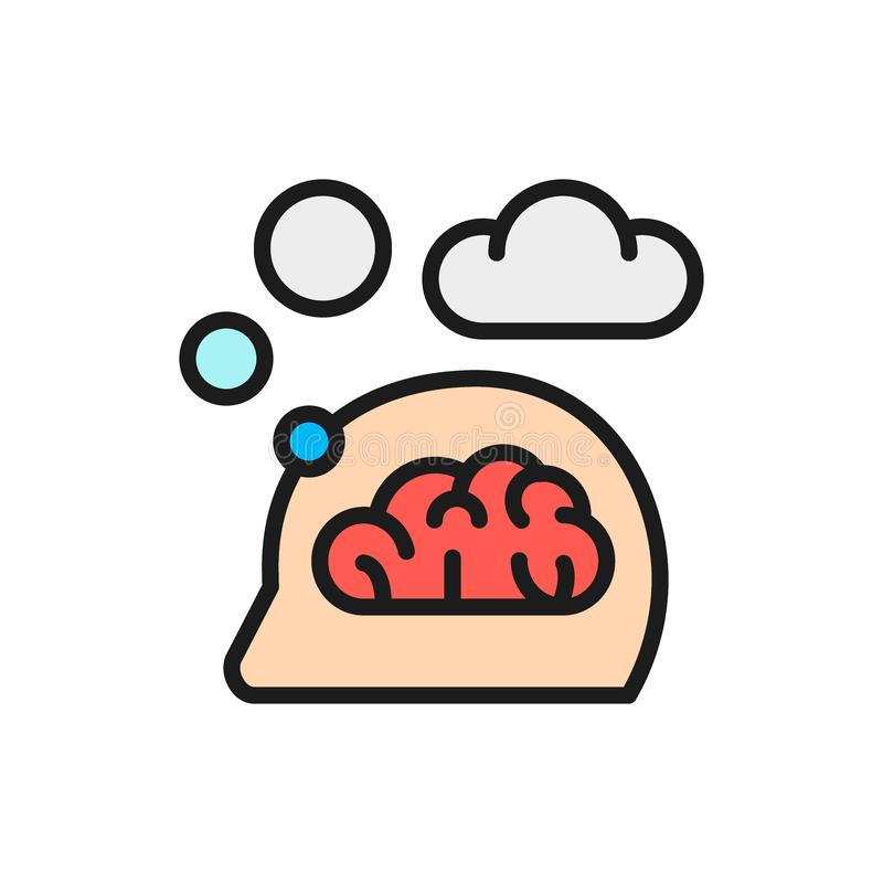Vector think, thought, idea, mind, dream cloud, dialog flat color line icon. vector illustration