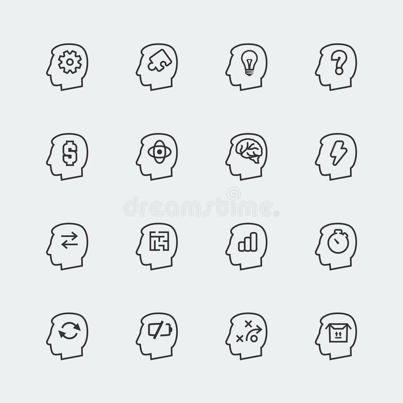 Vector thinking icons set stock illustration