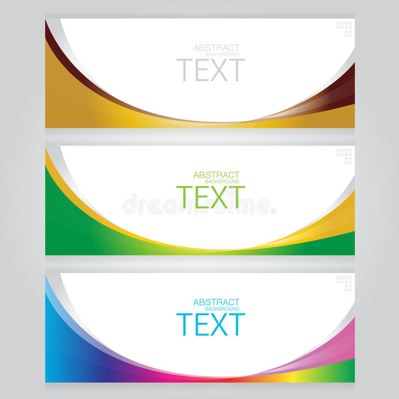 Vector of three banners abstract headers with colorful royalty free illustration